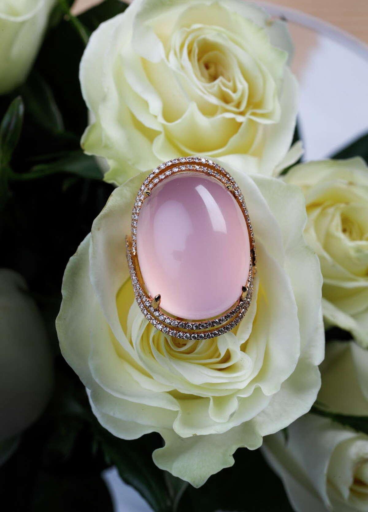Rose quartz ring $6,900 at Tenenbaum Jewelers