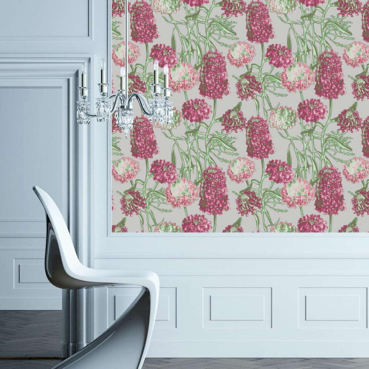 Tempaper's hydrangrea blush print, $98/square foot, tempaperdesigns.com