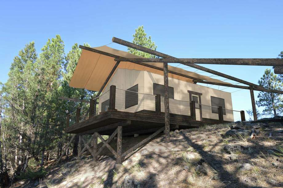 The Resort at Paws Up in Montana is unveiling its most luxurious camp yet, North Bank Camp, in June 2017. Tents will have three bedrooms and the dining pavilion is expansive. Photo: Rendering Courtesy Of Resort At Paws Up