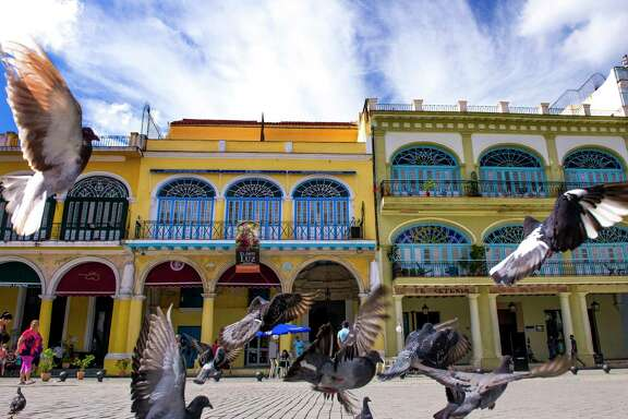 Pigeons take off from Plaza Vieja Monday, Jan. 16, 2017 in Havana. ( Michael Ciaglo / Houston Chronicle )
