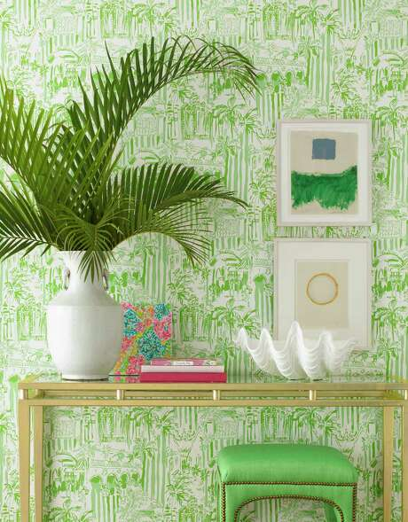 Tropical-themed wallpaper from Lilly Pulitzer II at Lee Jofa, leejofa.com. Starting at $130 per roll, it is available trade-only at the Kravet showroom at the Decorative Center of Houston, 5120 Woodway.