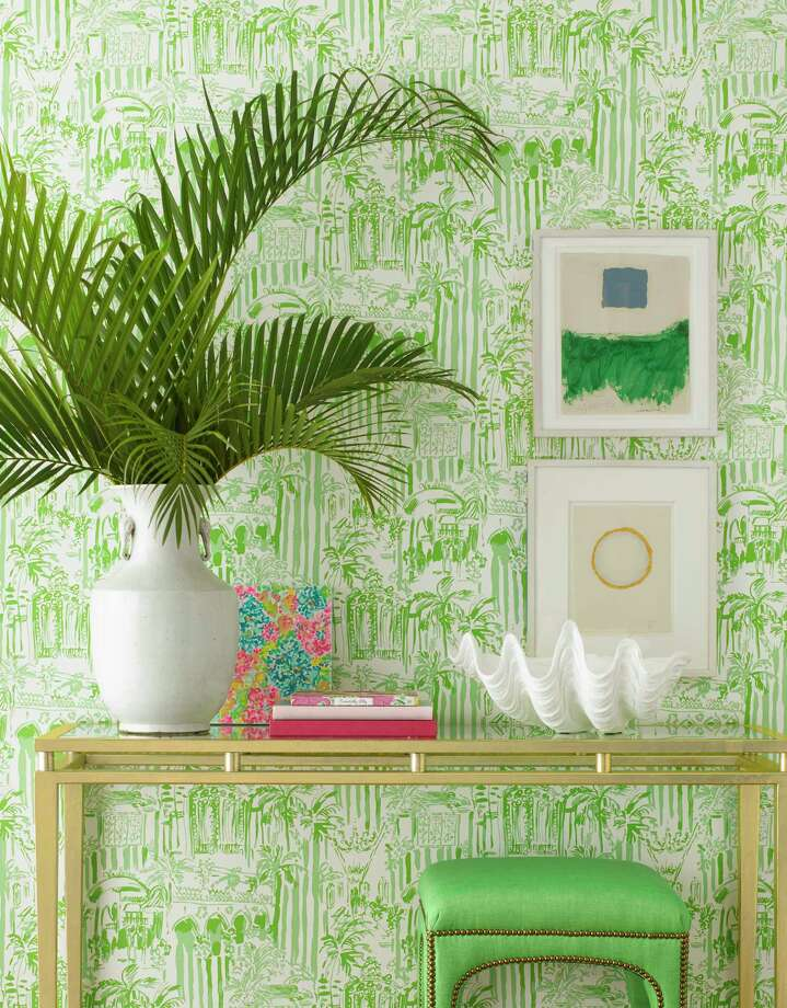 Tropical-themed wallpaper fromLilly Pulitzer II at Lee Jofa, leejofa.com. Starting at $130 per roll, it is available trade-only at the Kravet showroom at the Decorative Center of Houston, 5120 Woodway. Photo: Lee Jofa