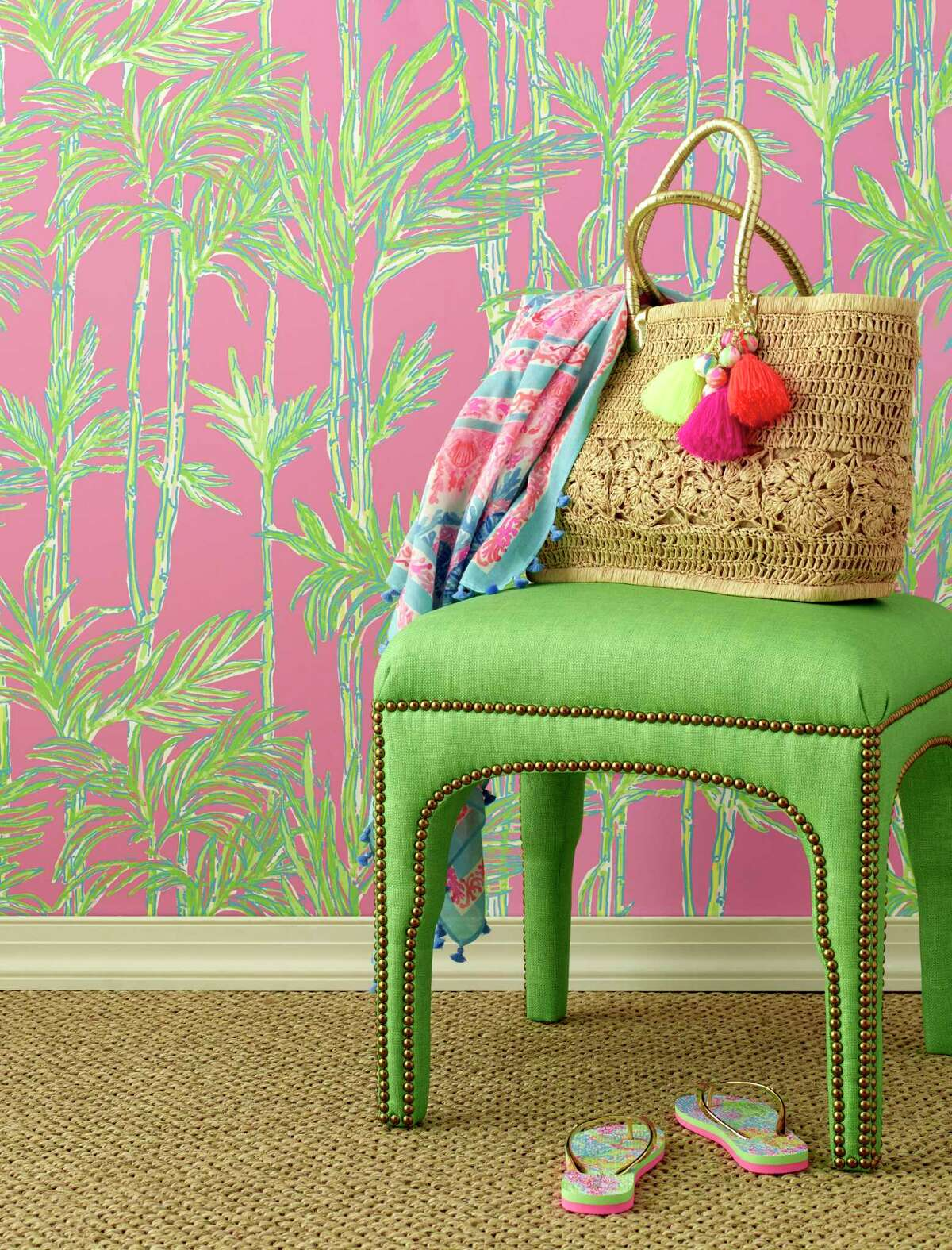 Tropical-themed wallpaper fromLilly Pulitzer II at Lee Jofa, leejofa.com. Starting at $130 per roll, it is available trade-only at the Kravet showroom at the Decorative Center of Houston, 5120 Woodway.