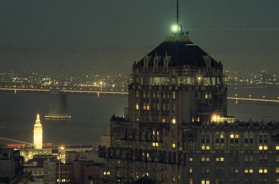 View of the top of the Mark Hopkins Hotel with its illuminated Top of the Mark restaurant in 1956. The Top of the Mark opened in 1939. Photo: Nat Farbman/The LIFE Picture Collection/Getty Images