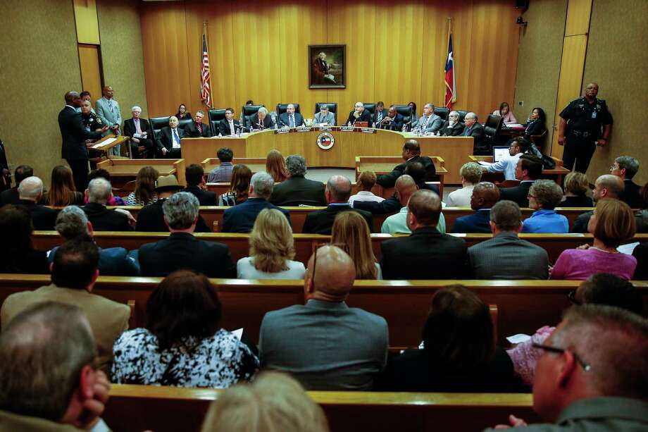 Harris County Commissioners Court, pictured in a meeting earlier this year Photo: Michael Ciaglo, Houston Chronicle / Michael Ciaglo
