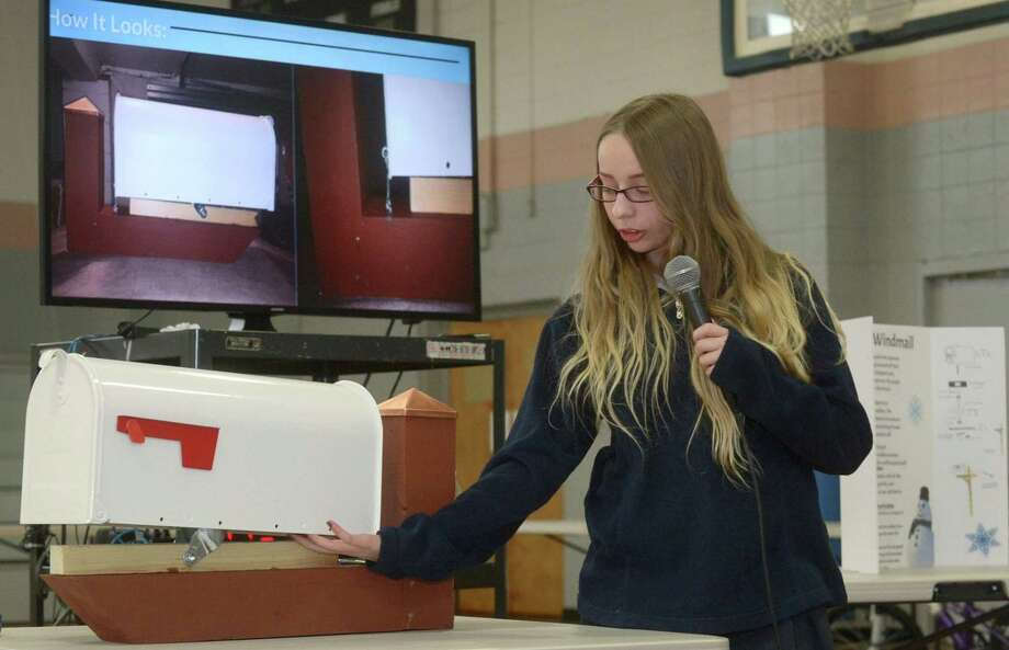 All Saints Catholic School eight-grader, Christina Surace, gives a presentation, Winter Mailbox Protection, for her Capstone Engineering Design Project, an individual student selected, research-based solution to an identified real-world problem, Tuesday, May 9, 2017,  at the school in Norwalk, Conn. Students have spent the last several months working with community partners on the cumulative projects which they then presented to a panel of judges this week for the chance to win hundreds of dollars in scholarships. Photo: Erik Trautmann / Hearst Connecticut Media / Norwalk Hour