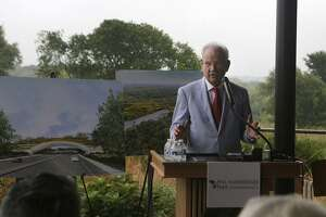 Former San Antonio Mayor Phil Hardberger speaks May 9, 2017, at the Urban Ecology Center at Phil Hardberger Park about the park's land bridge, which will connect the east and west sides of the park. Phil and Linda Hardberger, the Bill Klesse Foundation and the Voelcker Trust each donated $1 million to the land bridge fund. The entire project will cost $23 million.