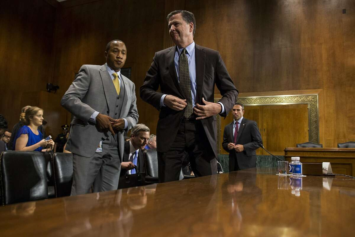 WASHINGTON, DC - MAY 03: Director of the Federal Bureau of Investigation, James Comey leaves after testifying in front of the Senate Judiciary Committee during an oversight hearing on the FBI on Capitol Hill May 3, 2017 in Washington, DC. Comey answered questions about Russian involvement into the 2016 presidential election. (Photo by Zach Gibson/Getty Images)
