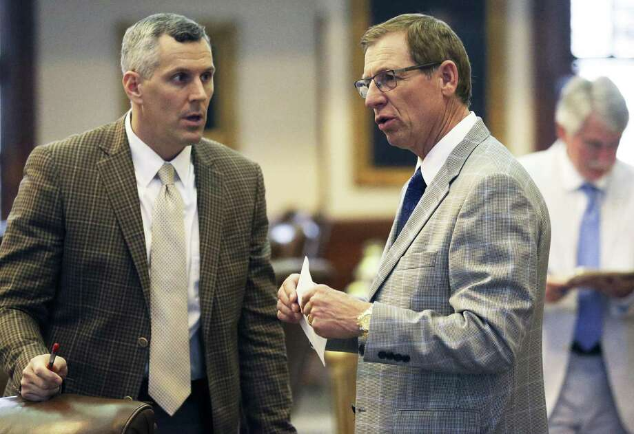 State Rep. Byron Cook, R-Corsicana, (right) talks with Rep. Matt Schaefer R-Tyler, as the bathroom bill is discussed during the regular session in May. The bill, which failed in the regular session, is once again under consideration in the special session. Cook, chair of the committee that will hear the bill, said Wednesday that he doesn't support the measure but will give it a hearing Photo: Tom Reel /San Antonio Express-News / 2017 SAN ANTONIO EXPRESS-NEWS