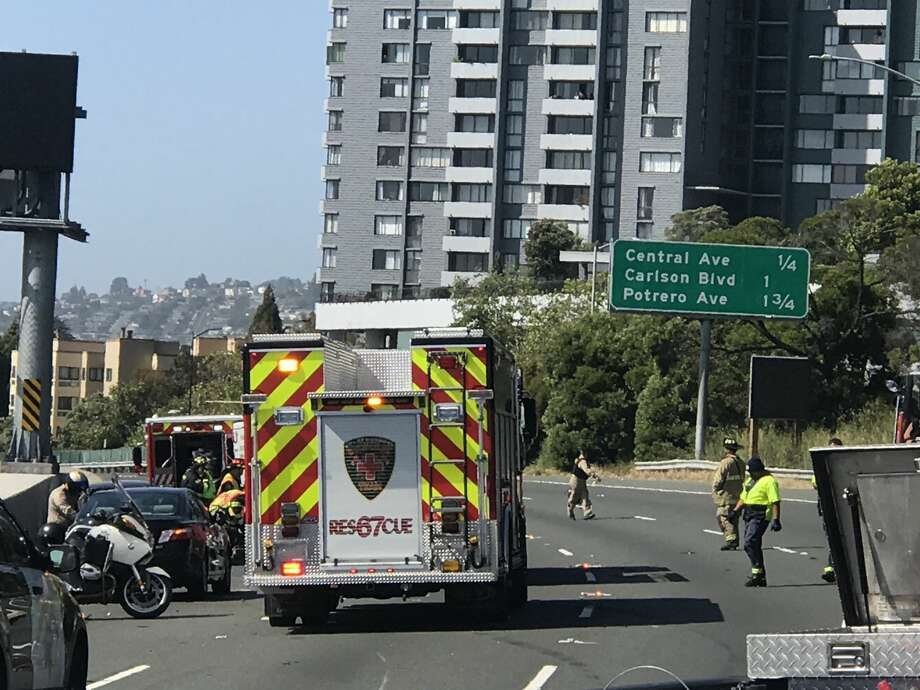All eastbound lanes of I-80 were shut down in El Cerrito Tuesday afternoon after a rollover crash. Photo: Chris Preovolos
