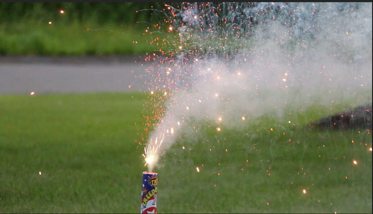 TNT Mega Storm fireworks are tested on a front lawn on Wednesday, July 1, 2015, in Rexford, N.Y. (Olivia Nadel/ Special to the Times Union)