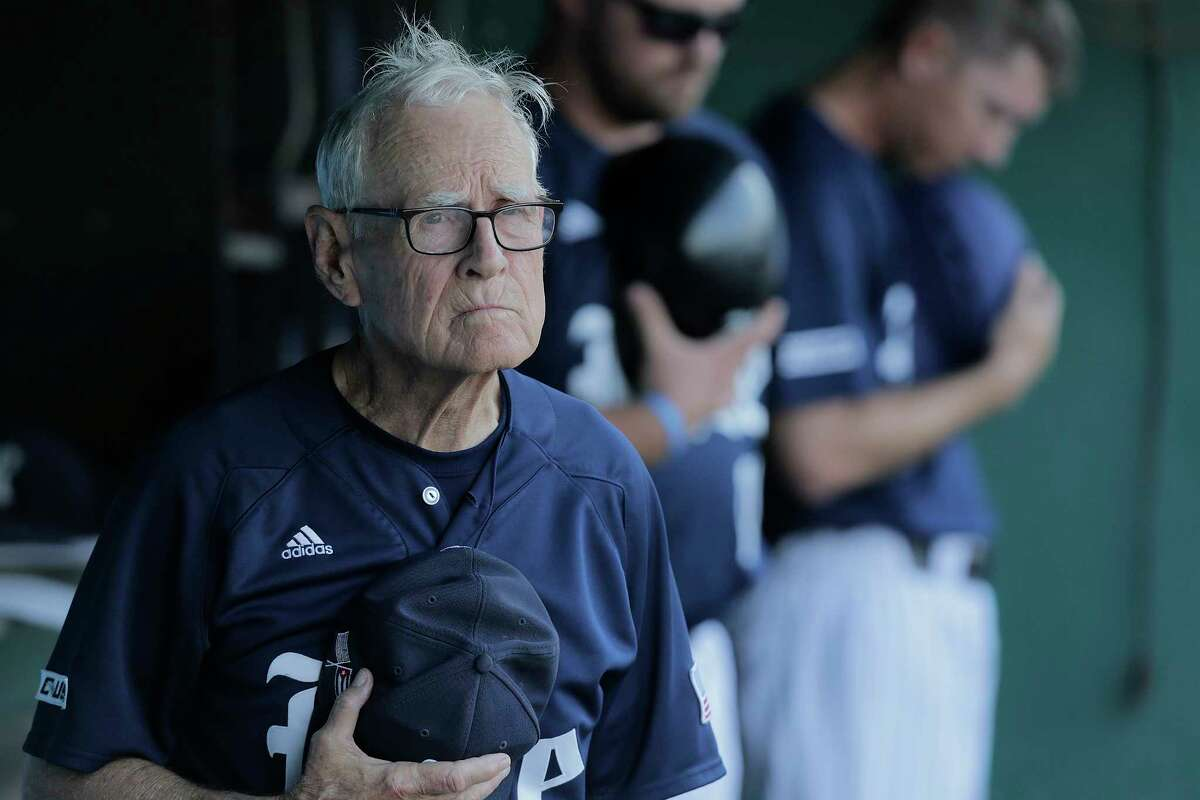 Rice University baseball coach Wayne Graham listens to the National Anthem before playing Houston at Constellation Field on Tuesday, May 9, 2017, in Sugar Land.