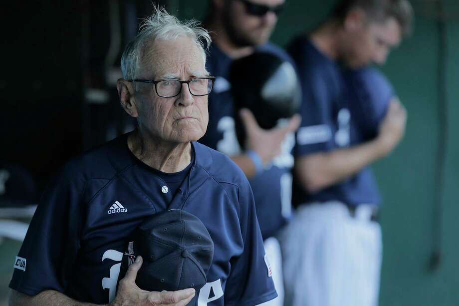 Rice University baseball coach Wayne Graham listens to the National Anthem Photo: Elizabeth Conley, Houston Chronicle / © 2017 Houston Chronicle