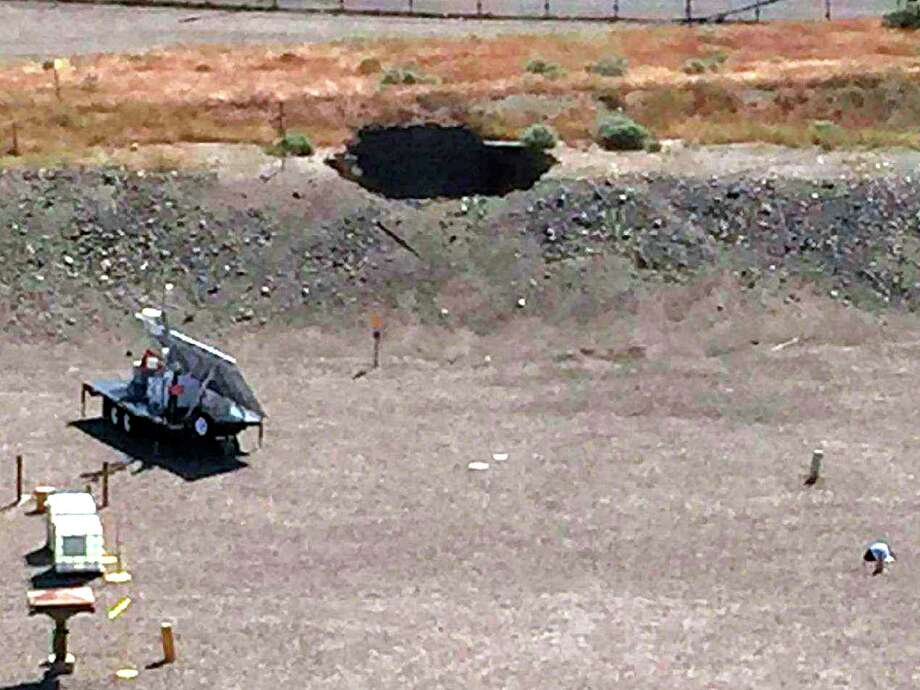 This image provided by the U.S. Department of Energy shows a 20-foot by 20-foot hole in the roof of a storage tunnel at the Hanford Nuclear Reservation near Richland, Wash., Tuesday. Photo: Uncredited, HOGP / U.S. DEPARTMENT OF ENERGY