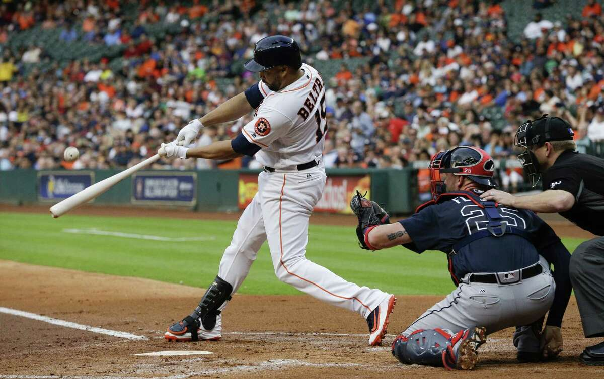 HOUSTON, TX - MAY 09: Designated hitter Carlos Beltran #15 of the Houston Astros hits a home run in the first inning against the Atlanta Braves at Minute Maid Park on May 9, 2017 in Houston, Texas.