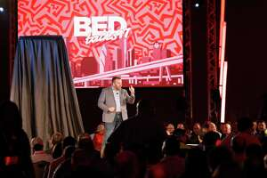 Ken Murphy, CEO of Mattress Firm, speaks to the audience as Mattress Firm reveals the latest products in mattress technology at the Marriott Marquis Houston on Monday, May 9, 2017, in Houston, TX.