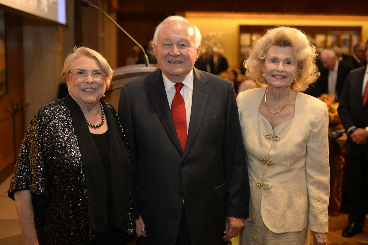From left, Marie McShane (accepting the induction award on behalf of her husband Joseph McShane,) Curtis Mewbourne, inductee, and Dorothy Thompson (accepting the induction award on behalf of her husband James Thompson), pose for a group photo after the 2017 Petroleum Hall of Fame induction banquet May 9, 2017, at the Petroleum Club. James Durbin/Reporter-Telegram