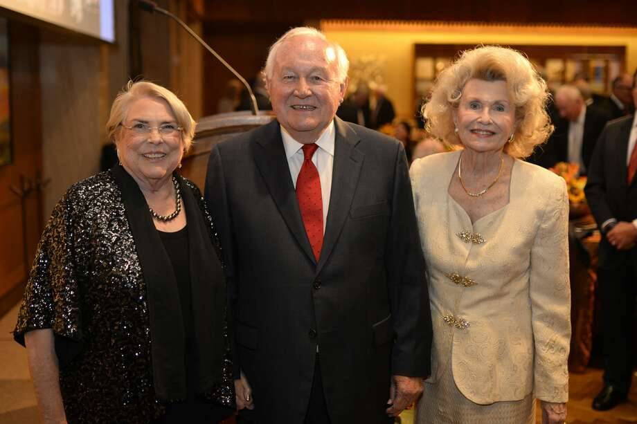 From left, Marie McShane (accepting the induction award on behalf of her husband Joseph McShane,) Curtis Mewbourne, inductee, and Dorothy Thompson (accepting the induction award on behalf of her husband James Thompson), pose for a group photo after the 2017 Petroleum Hall of Fame induction banquet May 9, 2017, at the Petroleum Club.  James Durbin/Reporter-Telegram Photo: James Durbin