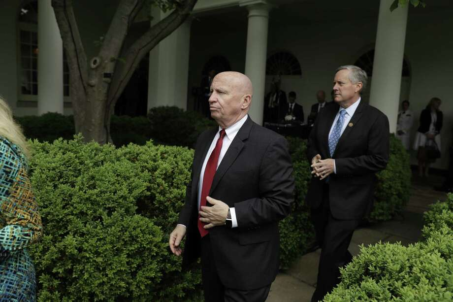 House Ways and Means Committee Chairman Rep. Kevin Brady, R-Texas, and others arrive in the Rose Garden of the White House in Washington, Thursday, May 4, 2017, after the House pushed through a health care bill. (AP Photo/Evan Vucci) Photo: Evan Vucci, STF / Copyright 2017 The Associated Press. All rights reserved.