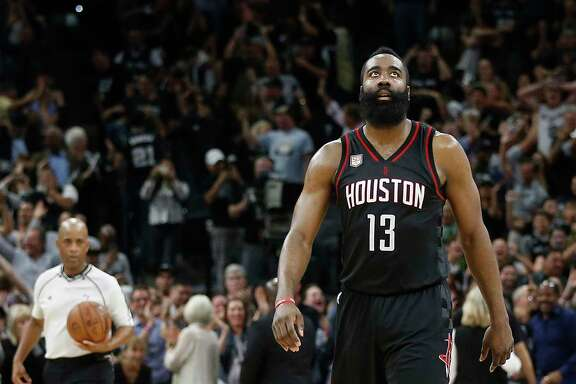 Guard James Harden had a triple-double after going 11-for-24 from the field, but his attempt in the waning seconds to tie the game was blocked by Manu Ginobili.