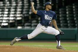 Rice infielder Dane Myers (10) pitches in the fifth inning. Photos of Houston and Rice University baseball game at Constellation Field on Tuesday, May 9, 2017, in Sugar Land.