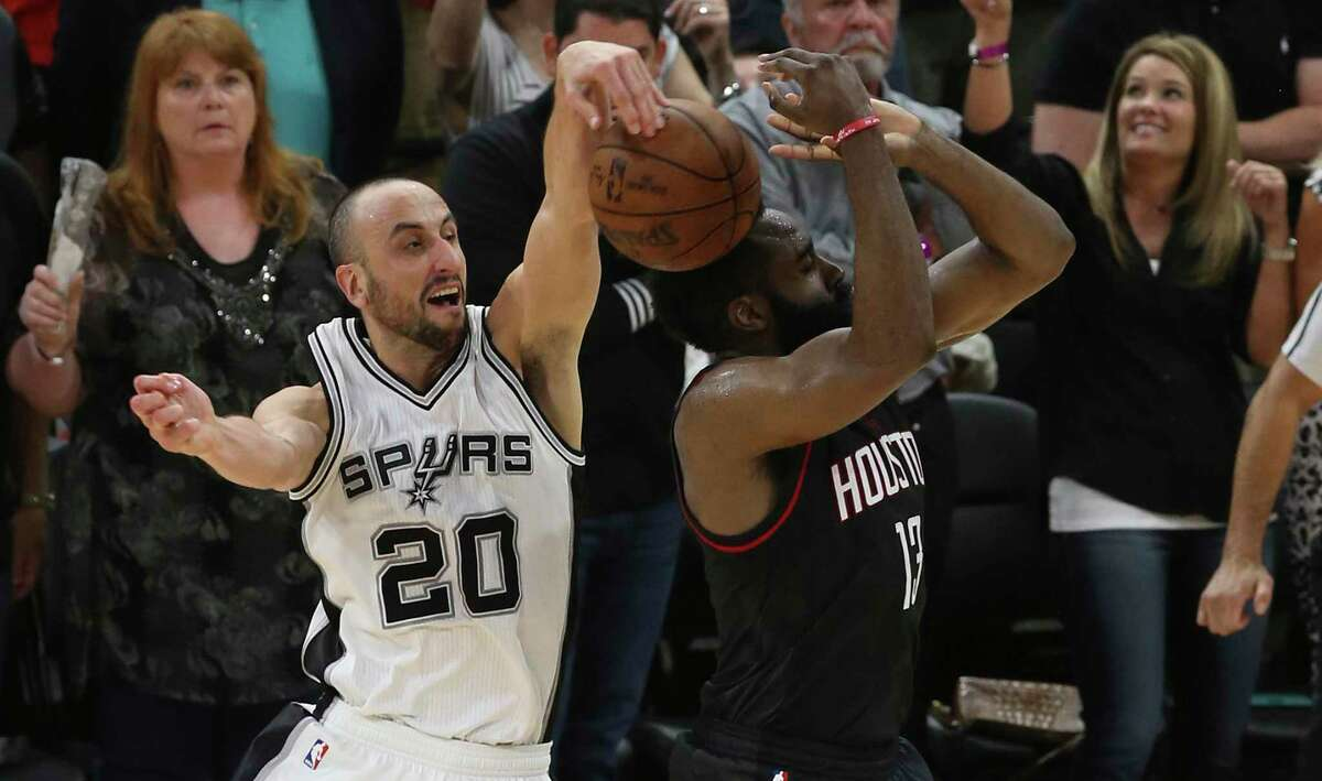 """The """"grandpa juice"""" - as his Spurs teammates affectionately liked to call it - was flowing as Manu Ginobili blocks the potential game-tying 3-point shot of the Rockets' James Harden at the end of overtime in Game 5 of the 2017 Western Conference semifinals at the AT&T Center on May 9, 2017."""