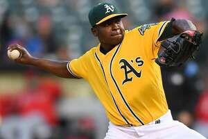 OAKLAND, CA - MAY 09:  Jharel Cotton #45 of the Oakland Athletics pitches against the Los Angeles Angels of Anaheim in the top of the second inning at Oakland Alameda Coliseum on May 9, 2017 in Oakland, California.  (Photo by Thearon W. Henderson/Getty Images)
