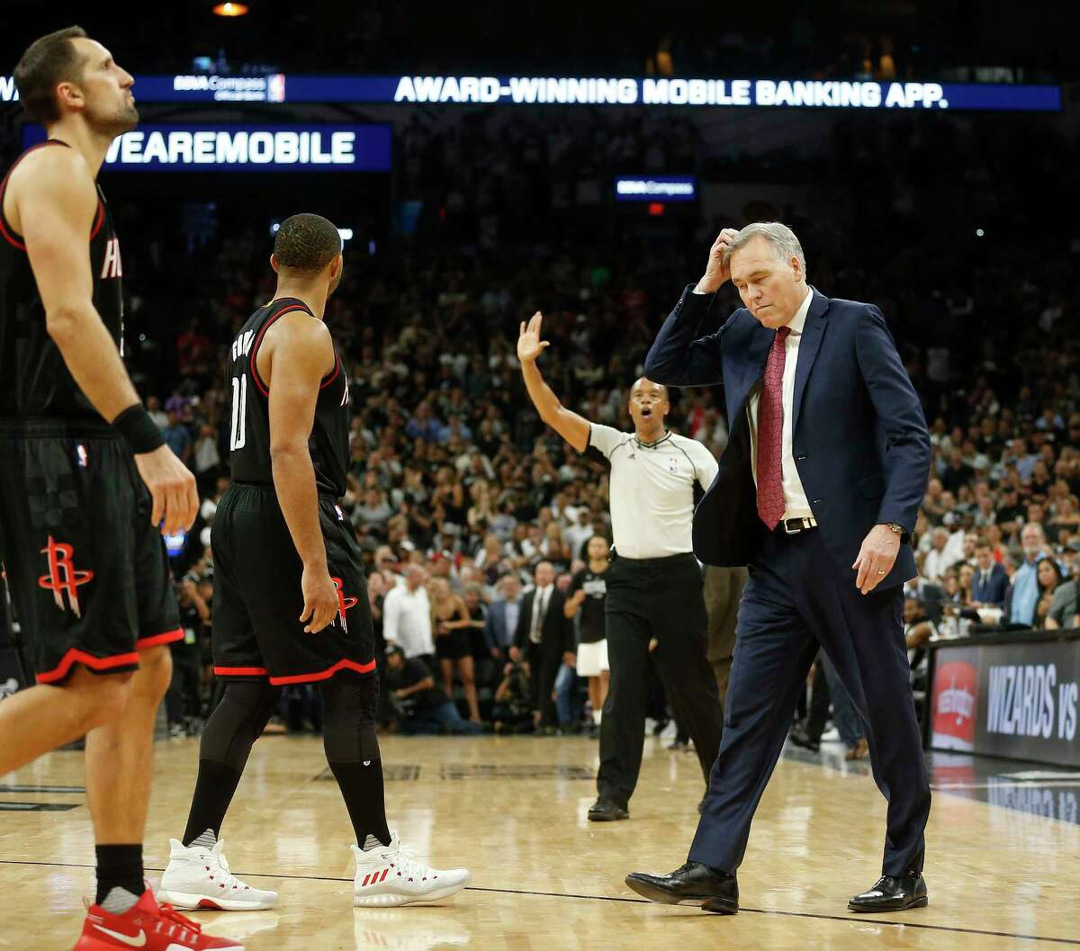 Houston Rockets head coach Mike D'Antoni reacts as he walks out for a time out in the final seconds during overtime of Game 5 of the second round of the Western Conference NBA playoffs at AT&T Center, Tuesday, May 9, 2017, in San Antonio.