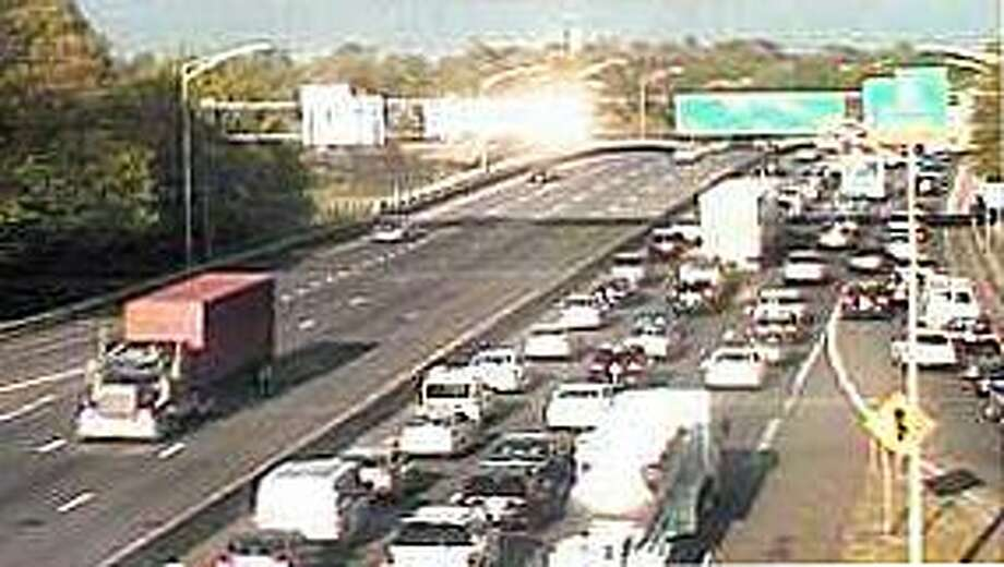 A two-vehicle, southbound accident shut down a lane on I-95 in Norwalk and it caused a traffic slowdown of several miles on Wednesday, May 10, 2017. Photo: /