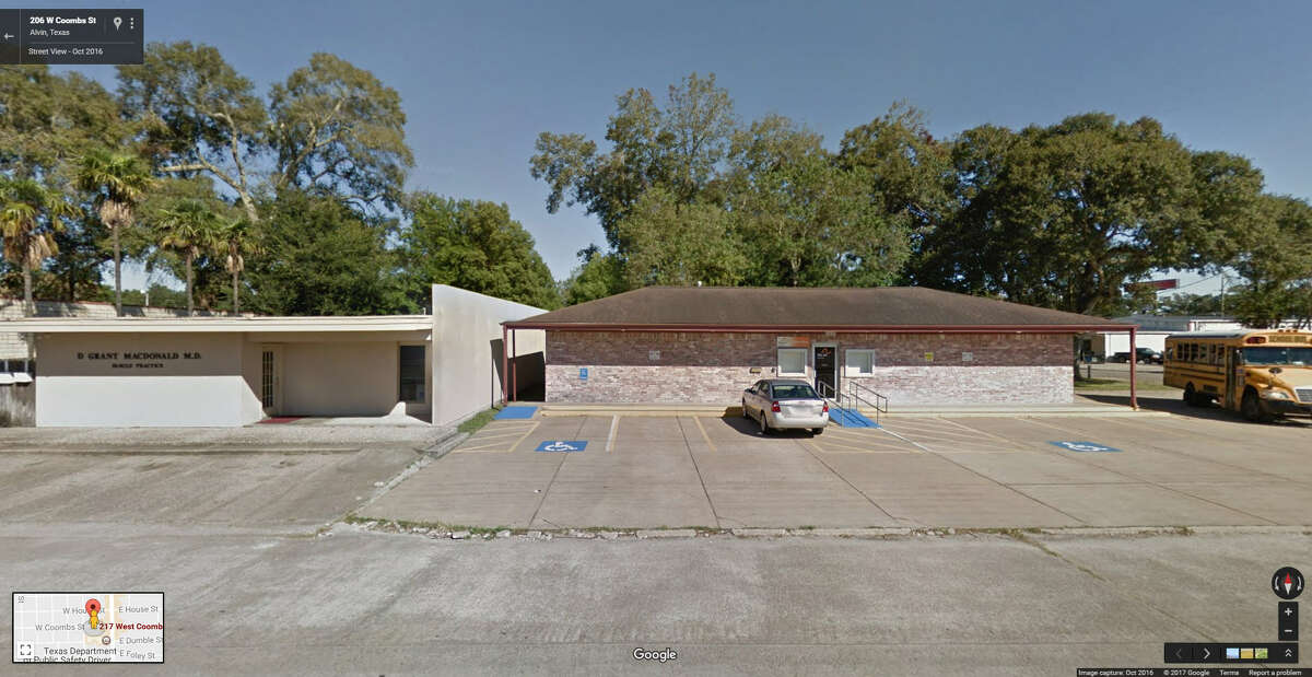 FILE - A screenshot of a Google Maps image of the 210 block of West Coombs Street in Alvin, Texas. On May 10, 2017, burglars targeted an area gun store and made off with an unknown number of firearms.