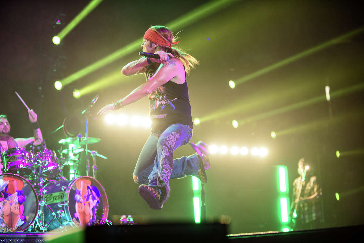 Bret Michaels ofPoison performs at the Times Union Center in Albany on Tuesday, May 9, 2017. Tesla opened the show.