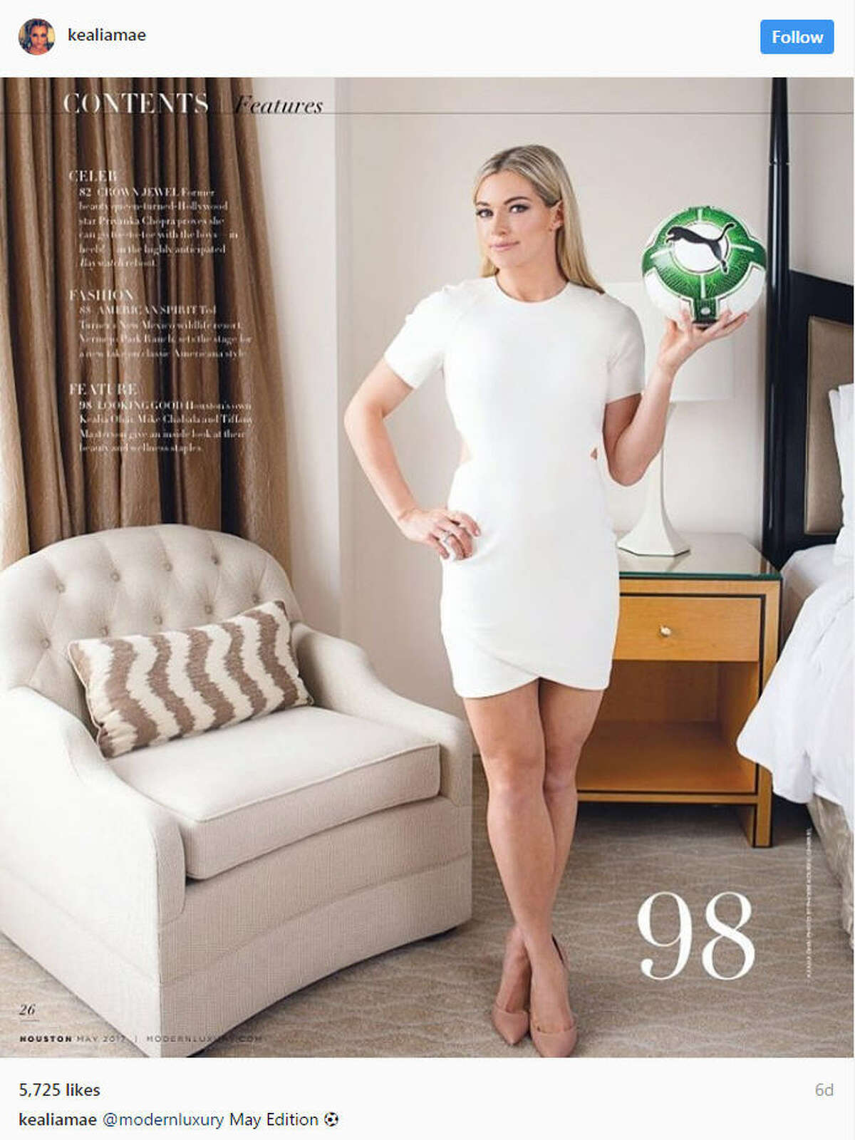 Dash soccer star Kealia Ohai is featured in Modern Luxury Houston's May edition. The 25-year-old shares her beauty secrets with the publication. Continue clicking to see the things to know about Kealia Ohai.Source: Instagram