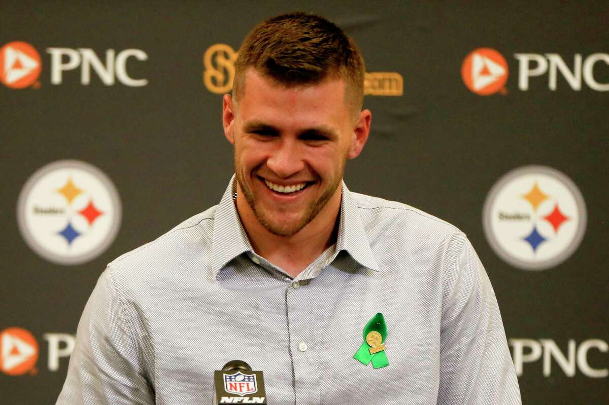 Pittsburgh Steelers first round pick in the 2017 NFL football draft, T.J. Watt, a linebacker out of Wisconsin, speaks during a news conference Friday, April 28, 2017, in Pittsburgh. (AP Photo/Keith Srakocic)