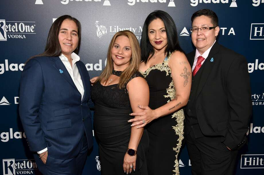 The wrongly incarcerated women known as the San Antonio Four -- Anna Vasquez, Elizabeth Ramirez, Cassandra Rivera and Kristie Mayhugh -- accepted a major media award at the 28th Annual GLAAD Media Awards at The Hilton Midtown in New York City on Saturday night. Photo: Bryan Bedder/Getty Images For GLAAD