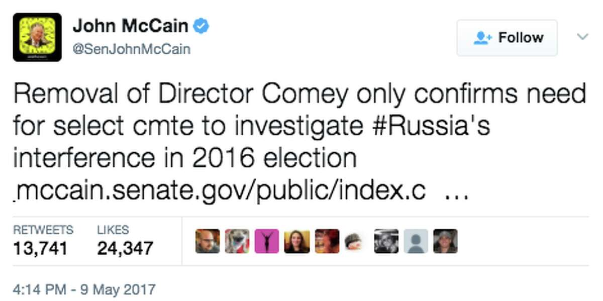 Sen. John McCain, R-Ariz., comments on President Donald Trump firing FBI Director James Comey. After Comey's dismissal twitter lit up with comments from politicians.