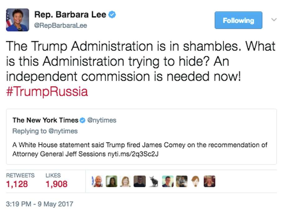 Gallery: Politicians react to Trump firing ComeyRep. Barbara Lee, D-Calif., comments on President Donald Trump firing FBI Director James Comey. After Comey's dismissal twitter lit up with comments from politicians. Photo: Twitter Screen Grab