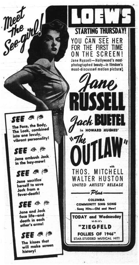 """Houston advertisement for """"The Outlaw,"""" May 1946. Photo: Chronicle File"""