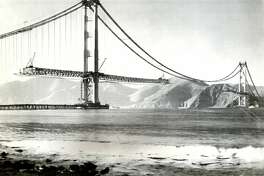 Construction of the Golden Gate Bridge began on January 5, 1933. The bridge was completed and open on May 27, 1937. This UPI photo is undated.