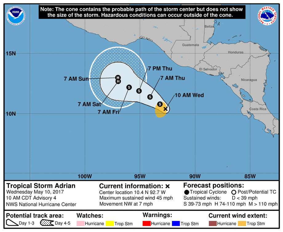 The first tropical storm of the Pacific hurricane season is showing little change in strength and poses no threat to land. Adrian's maximum sustained winds early Wednesday are 45 mph (75 kph). Adrian is centered about 435 miles (700 kilometers) south-southeast of Salina Cruz, Mexico, and is moving northwest near 14 mph (22 kph).GRAPHICS: See the path past hurricanes took on their way to Texas ... Photo: NOAA Hurricane Center