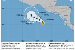 Tropical Storm Adrian forms in the Pacific off the Mexican coast.