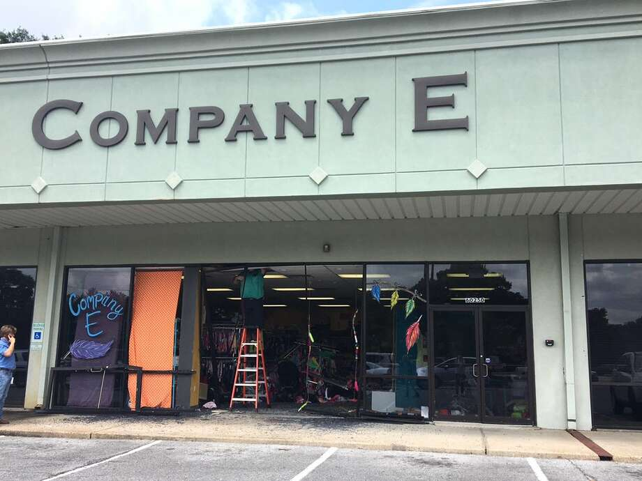 The exterior and interior of the Company E consignment shop on Phelan after a car drove through the front doors on Wednesday.Sara Flroes/The Enterprise Photo: Sara Flores