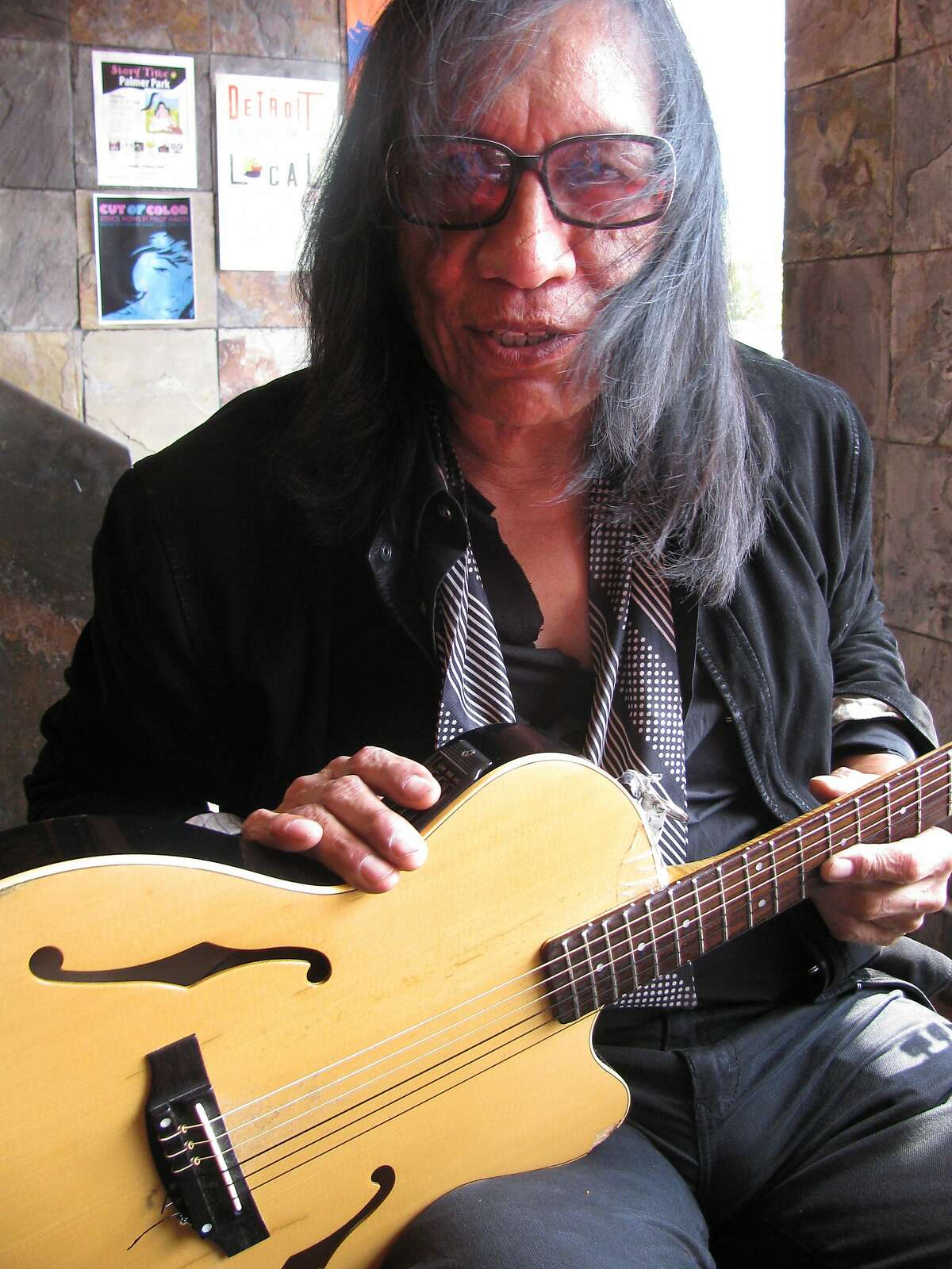 In an Aug. 21, 2012 photo, Sixto Rodriguez is seen in Detroit. An Oscar-nominated documentary about the Detroit musician whose albums flopped in the U.S. but which unknown to him were megahits in South Africa, has made him wonder what happened to all the royalties from those sales. (AP Photo/Jeff Karoub)
