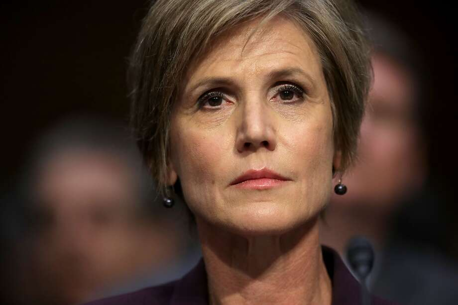 """It's true that Sally Yates's name has nothing to do with the state of  the republic, but it doesn't mean it's not interesting. In this photo:  She testifies on Capitol Hill before the Senate Judiciary subcommittee  on Crime and Terrorism hearing: """"Russian Interference in the 2016 United  States Election."""" Photo: Chip Somodevilla / Getty Images"""