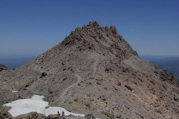 The final push to the lava plug dome summit at 10,457-foot Lassen Peak