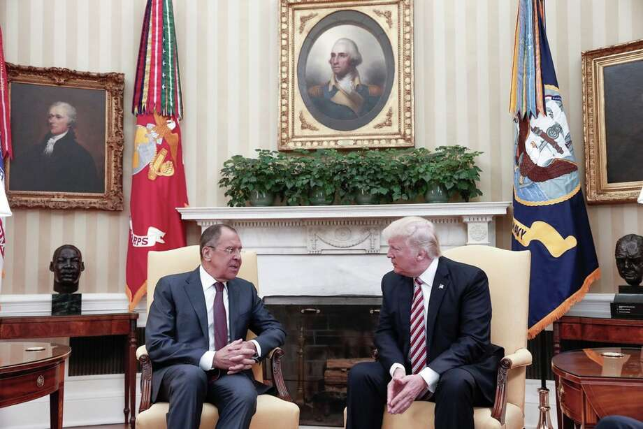 US President Donald Trump (R) and Russia's Foreign Minister Sergei Lavrov (L) meet at the Oval Office of White House in Washington, D.C., United States on May 10, 2017.Click to see the timeline of probes into ties between Trump and Russia. Photo: Russian Foreign Ministry