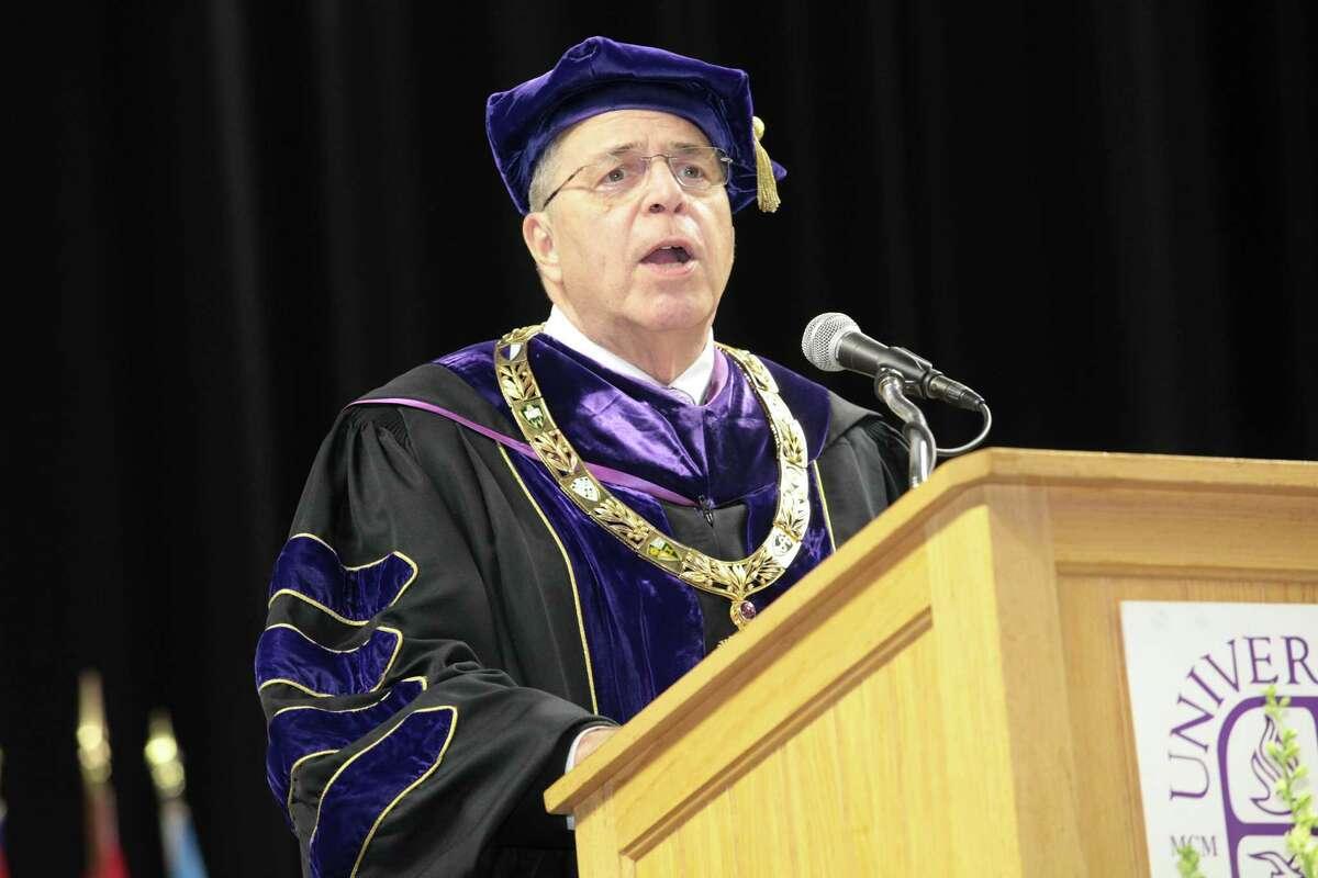 University of Bridgeport President Neil Salonen speaks at this years commencement ceremony, May 6, 2017. Salonen announced his retirement effective June 2018.
