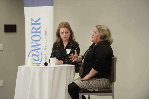 The Times Union's Leigh Hornbeck, left, interviews Deb Leach, Senior Director, Global Supply Management, Fab 8 Site Procurement Executive, during a Women@Work breakfast at the Hearst Media Center on Wednesday, May 10, 2017, in Colonie, N.Y.   (Paul Buckowski / Times Union)