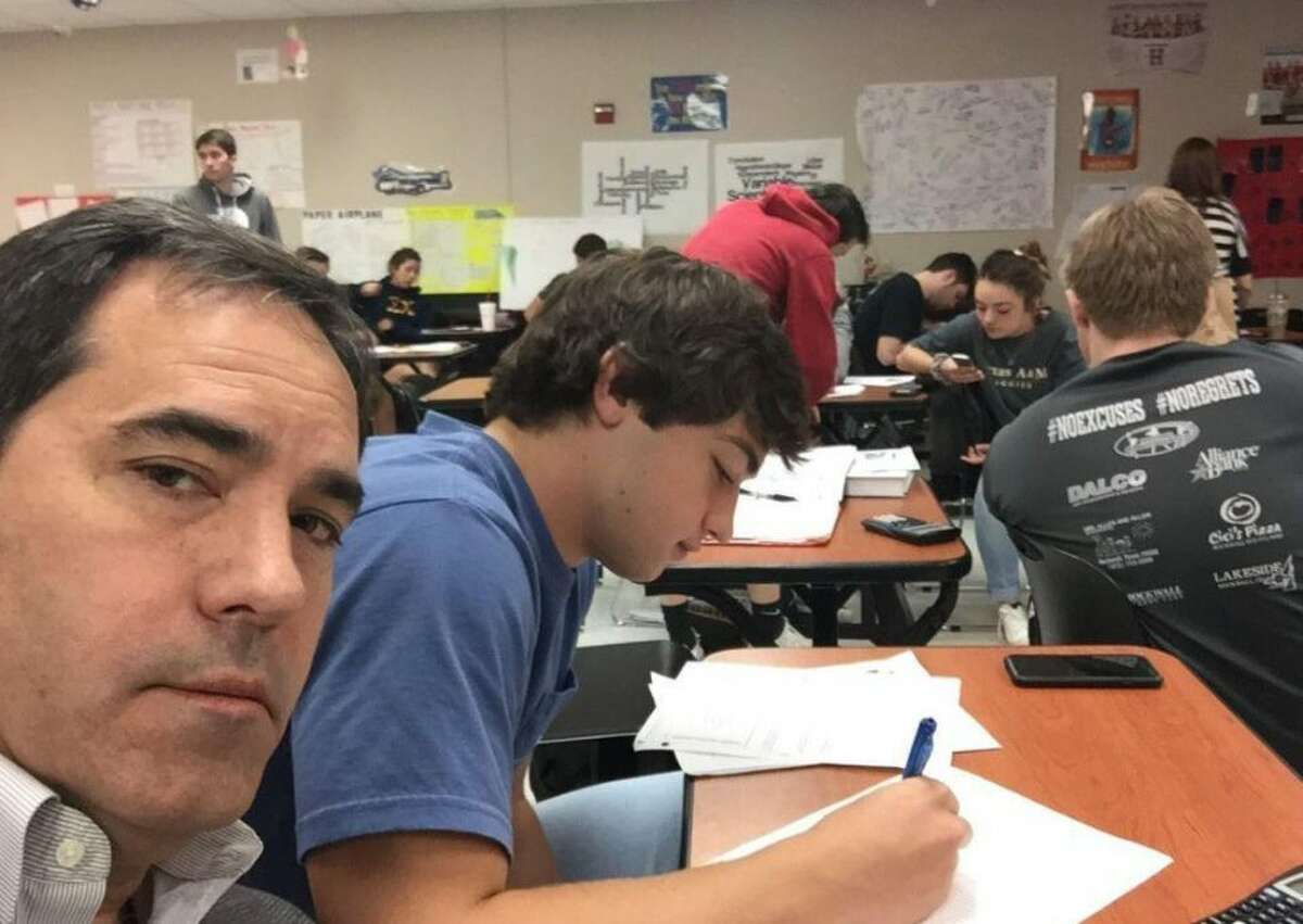 Dad surprises teen who wouldn't stop talking in class.(Photo: Molli Howard/Twitter) >>>Here are the top ten comics on parenting.