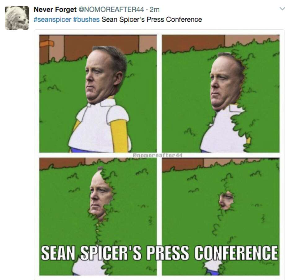 Twitter trolled White House Press Secretary Sean Spicer for hiding in bushes for several minutes after President Donald J. Trump terminated FBI Director James Comey. Eventually he emerged to speak with reporters outside the West Wing. Photo: Twitter