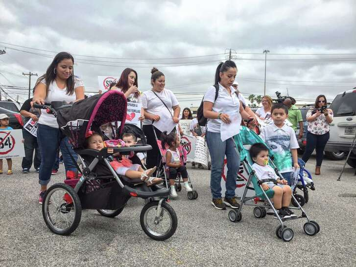 """Immigrants commemorated Mothers' Day on May 10, 2017, in Houston with a protest against SB-4, a bill passed by the Texas Legislature aiming to ban so-called sanctuary cities in the state. The bill is criticized as a """"show me your papers"""" law that would lead to the deportation of non-criminal undocumented immigrants and the separation of families with U.S. citizen children."""